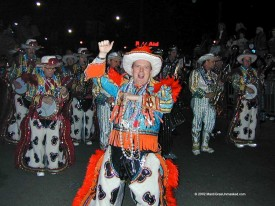 "Some historians believe the ""mummer"" tradition in Pennsylvania influenced the formation of Gulf Coast Carnival."